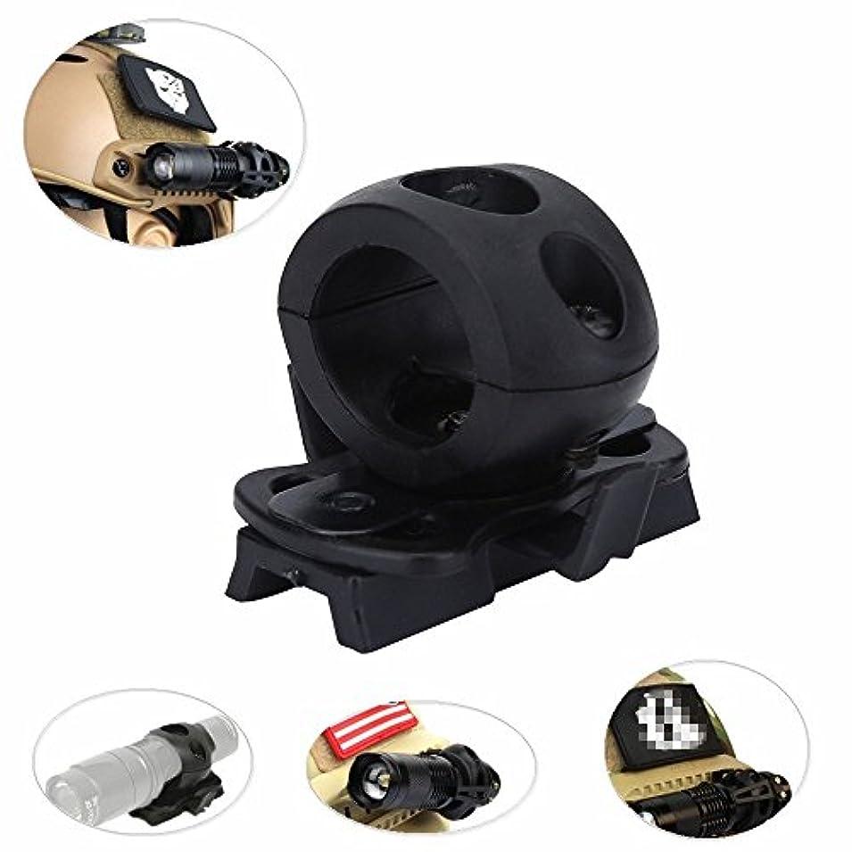 無視できるのため雇うポータブルヘルメット懐中電灯ホルダーマウントプラスチックトーチマウント懐中電灯ブラケット高速ヘルメットレール用