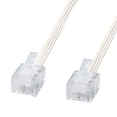サンワサプライ やわらかスリムケーブル(白) TEL-S2-10N2 1本