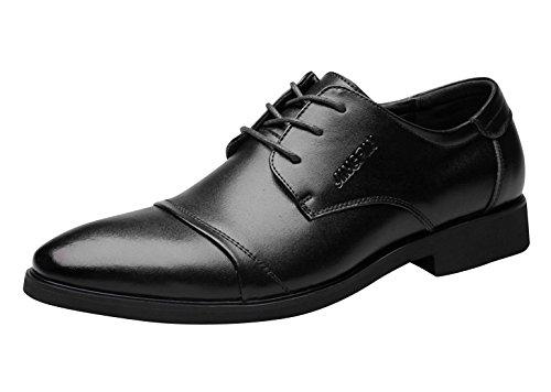[CHENGFA] メンズ ビジネスシューズ ドレスシューズ ストレートチップ ウォーキング 防水 軽量 防滑 蒸れない 男性 通気性 屈曲性 防臭 革靴 通勤靴 仕事靴 外羽根 ロングノーズ ブラウン ブラック 25.5cm