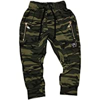 Babahlu Kids Drop Crotch Camo Pants with Gold Zip Detail, Lightweight Soft Cotton