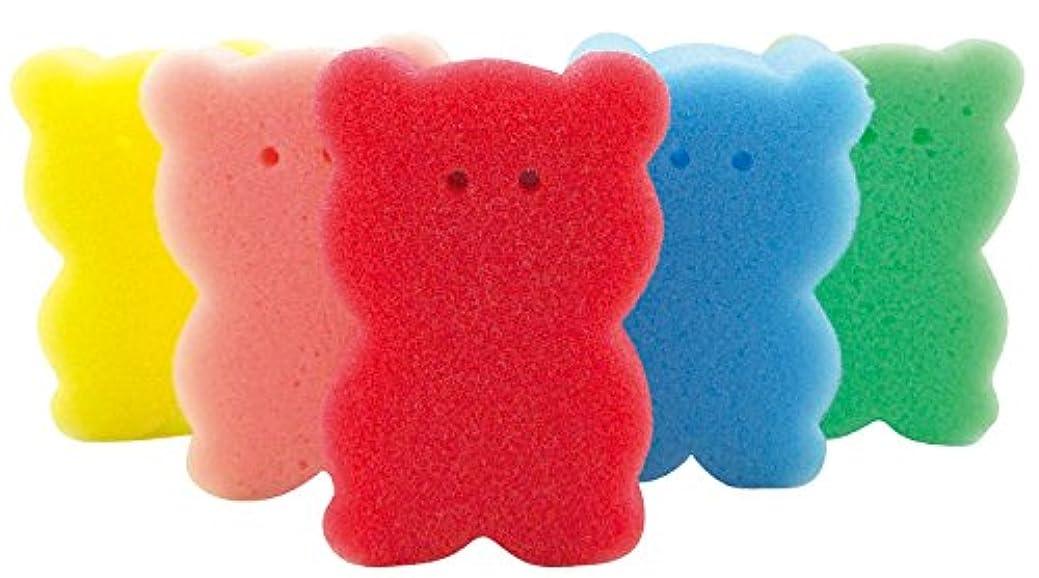 クラッシュヒゲ成長【色指定不可品】クマさん スポンジ 5ヶセット バススポンジ ボディスポンジ キッチンスポンジ