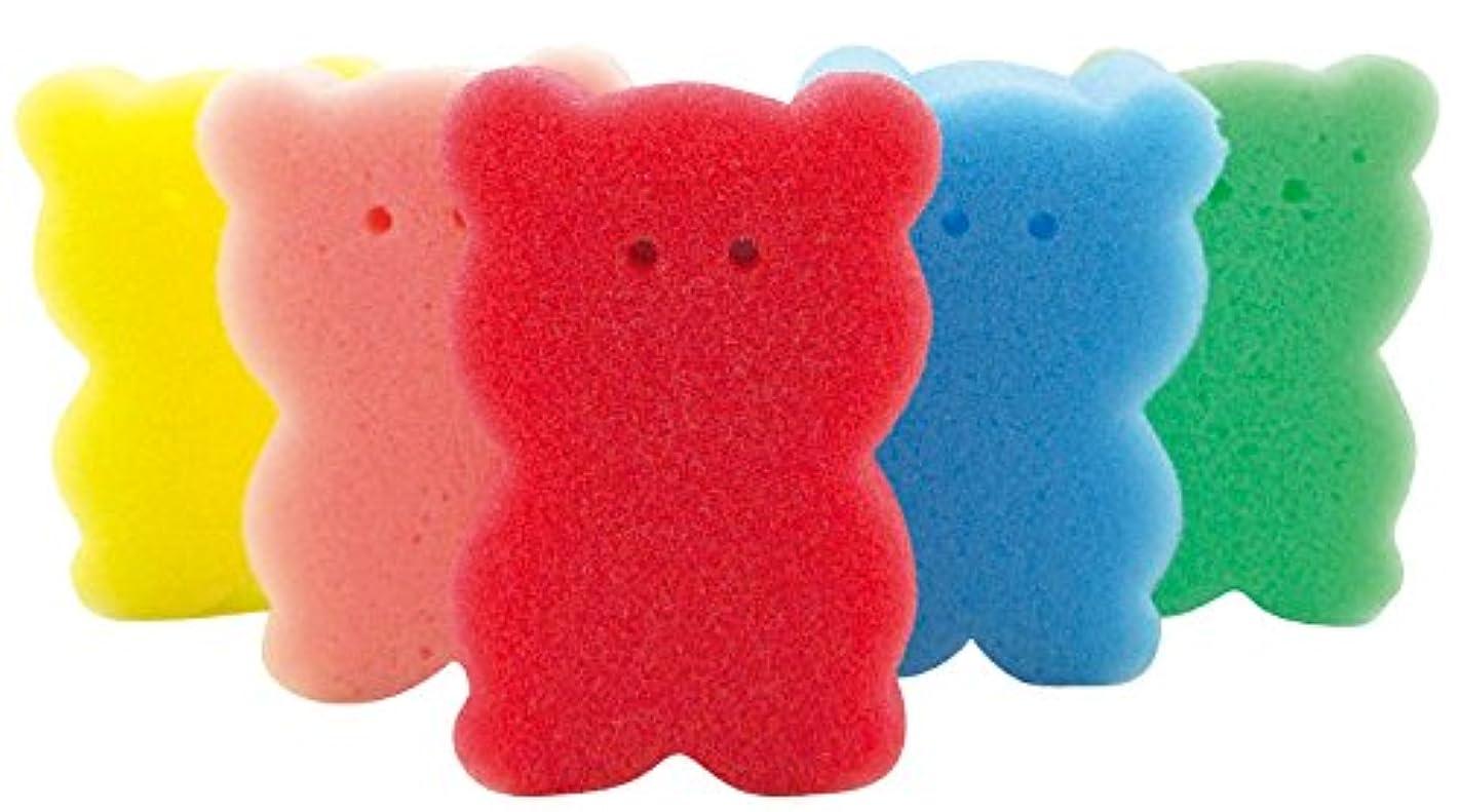 崖衛星アクティビティ【色指定不可品】クマさん スポンジ 5ヶセット バススポンジ ボディスポンジ キッチンスポンジ
