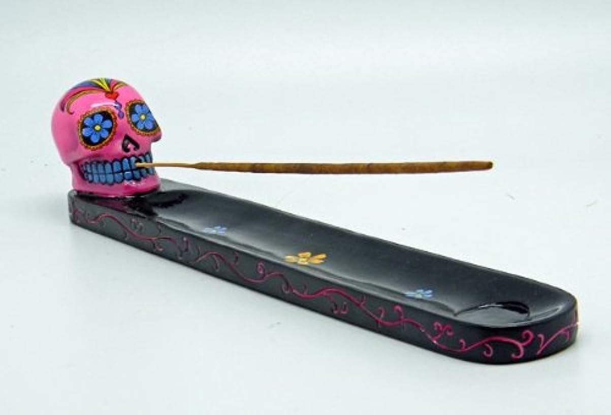 ハウス入射誠実さピンクDay of the Dead Sugar Skull Mexican Dia De Los Muertos Incense Burner