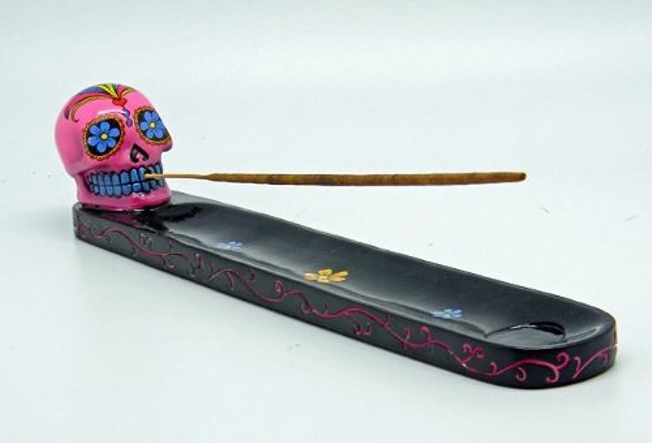 代わりに一致固めるピンクDay of the Dead Sugar Skull Mexican Dia De Los Muertos Incense Burner