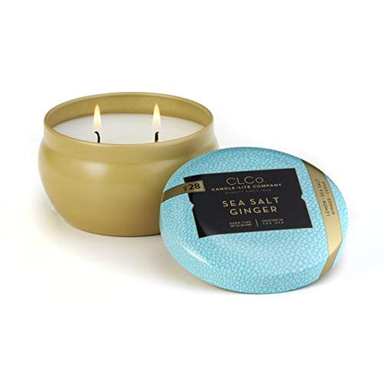 クリップフェローシップ許可CLCo. by Candle-Lite Company Scented Sea Salt Ginger Single-Wick Jar 6.25 oz White [並行輸入品]