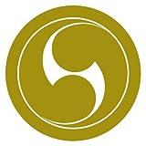 カッティングステッカー 家紋198 丸に右二つ巴 20cm (ゴールド)