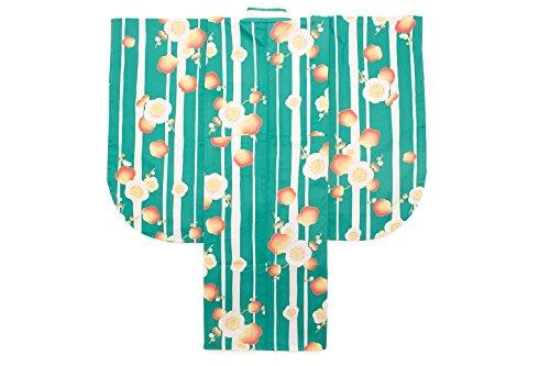 (ソウビエン) 袴用二尺袖着物 hiromichi nakano ヒロミチナカノ 青緑色 ブルーグリーン 白 ピンク 梅 花 縞 ストライプ 小振袖 卒業式 女性 レディース 仕立て上がり
