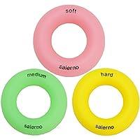 Salerno(サレルノ) ハンドエクササイズリング リング型 ハンドグリップ 硬さレベル3種類セット 握力トレーニング リハビリにも