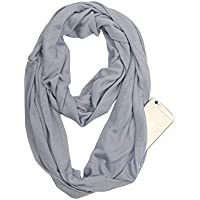 Ladies Convertible Infinity Scarf with Hidden Zipper Pocket Lightweight Unlimited Travel Scarf Wrap Fashion Wild Women's Scarves (Black)