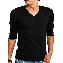 インプローブス Tシャツ Vネック 無地 7分袖 カットソー メンズ Vネック A-ブラック Lサイズ
