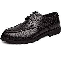 Happy-L Shoes, Classic Business Oxford for Men Embossed Formal Dress Shoes Lace up Round Toe Low Block Heel Stitching PU Leather Anti-Slip Texture