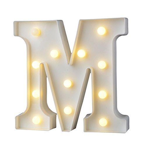 Belupai LED 手紙の照明アルファベット プラスチックランプ 暖かい白い文字 マーキーのサイン形 クリスマス贈り物 クリスマス ランプ 部屋飾り パーティー バー カフェ ベッドルーム 結婚式 装飾ライト LED イルミネーション イニシャルライト アルファベットライト ホームイベント インテリア ギフト(M)
