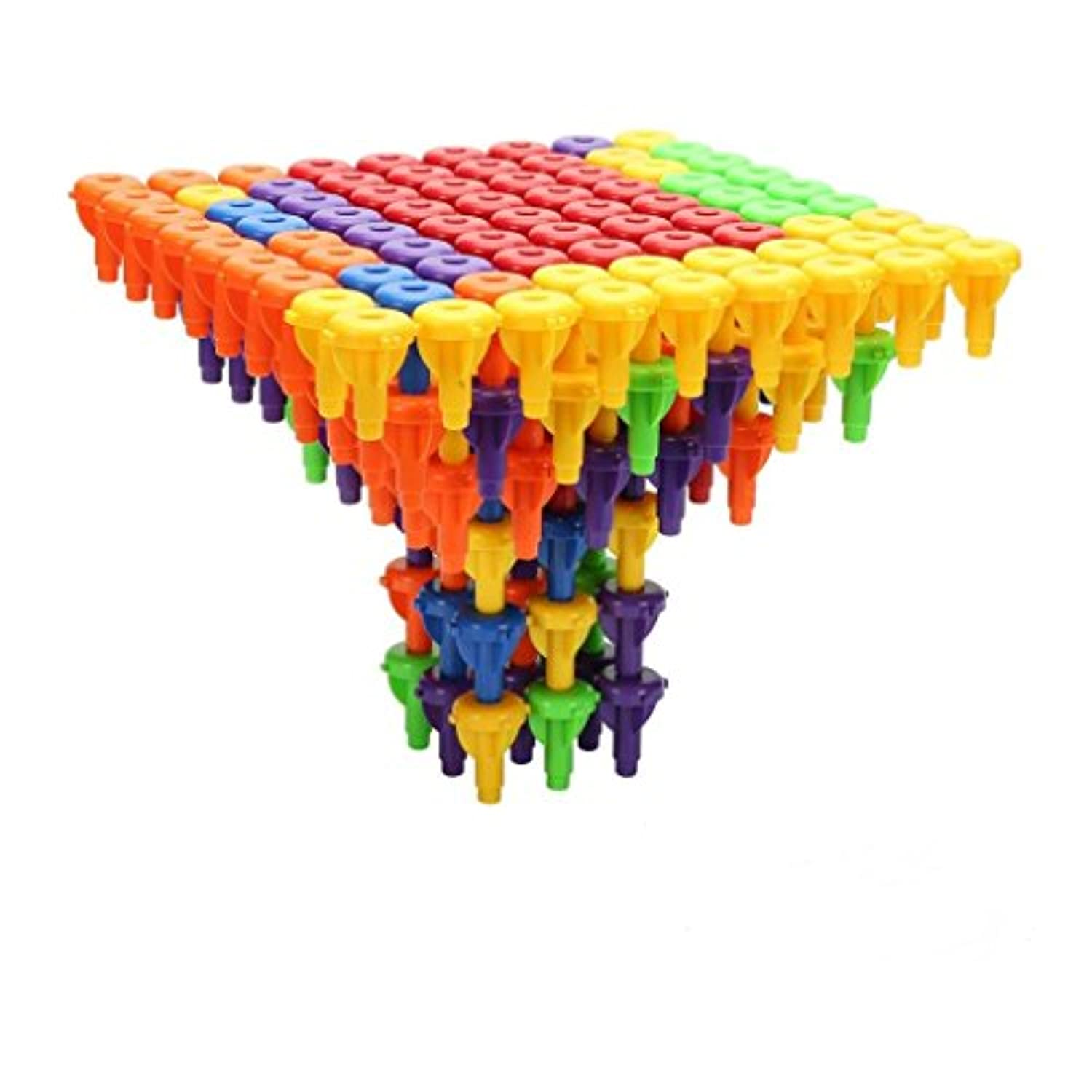E-SCENERY 96Pcs Shape Sorter Pegs Board Stacking Building Blocks Toy, Building Tile Puzzle Set Preschool Colour Sorting Montessori Occupational Therapy Fine Motor Skills Toy for Kids