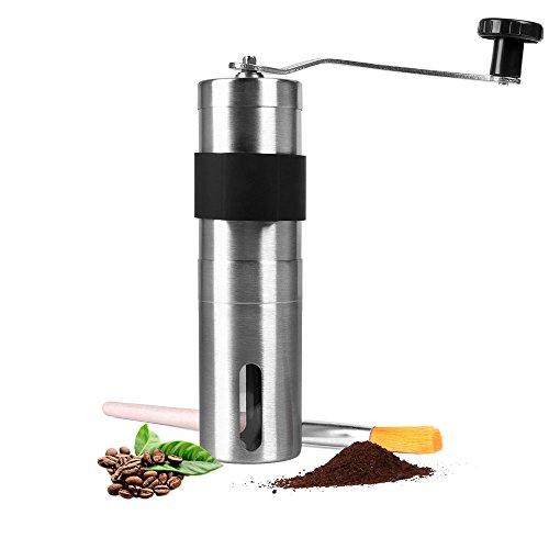 HAOCOO手挽きコーヒーミル セラミックカッター ステンレス コーヒーミル手動 (4.5cm'*18.6cm)
