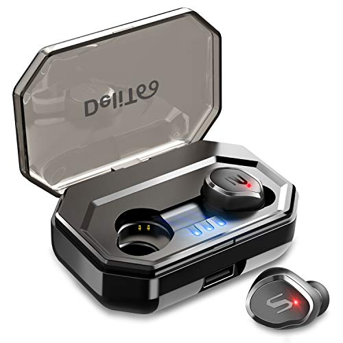 最先端Bluetooth5.0IPX7防水 Bluetooth イヤホン Hi-Fi高音質 自動ペアリング 90時間連続駆動 3Dステレオサウンド AAC8.0対応 タッチ型 完全ワイヤレス イヤホン ブルートゥース イヤホン 軽量 Siri対応 左右分離型 片耳 両耳とも対応 マイク内蔵 技適認証済 日本語音声提示 iPhone/iPad/Android対応 (ブラック)