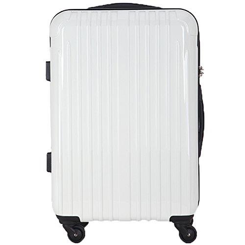 TY001中型(ラッキーパンダ) Luckypanda スーツケース 超軽量 中型 TSAロック 2年修理保証 ファスナータイプ TY001 m ハード 旅行用 キャリーバッグ キャリーケース トラベルバック 旅行かばん 軽量 Suitcase Luggage (Mサイズ(4~6日の旅行向け), ホワイト)