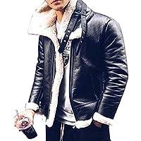 QianQian-AU Men's Casual Warm Sheep Faux Leather Coat Jacket Lamb Wool Lined Outwear