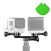 No1accessory GO-STZJ-01 ダブルデュアルスポーツカメラ用ホルター ハンドルグリップ マウントアダプター ネジ付き GoPro Hero Camera 6 5 4 3+ 3 2 HERO4 Session 適用 + クリーニングクロス