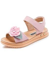 candy88キッズサンダル 女の子靴 ガールズシューズ 素敵 可愛い  お花飾り付き マジックテープ 子供靴 柔らかい 夏 小学生 中学生 通気性も良い