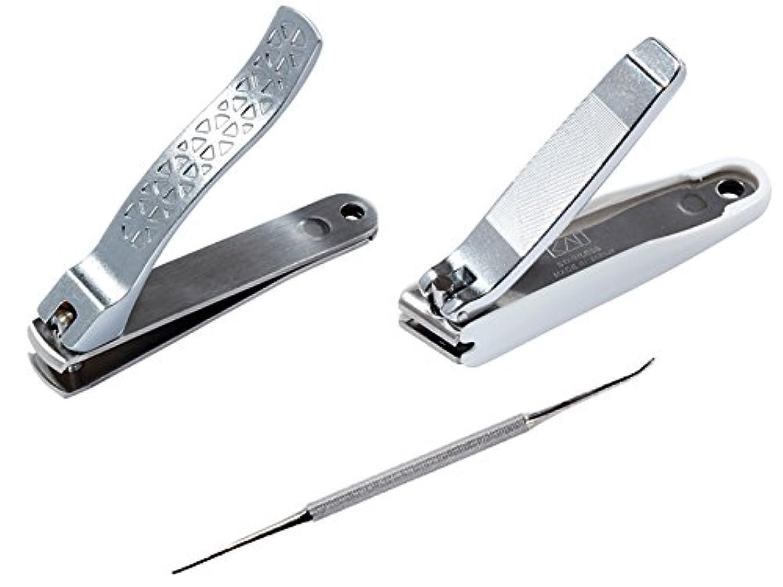 アクセント中央余裕がある【セット】貝印 巻き爪ケアセット 巻き爪用凸刃ツメキリ KQ-2031 + 直線刃ツメキリ KQ-2034 + 爪やすり KQ-2032