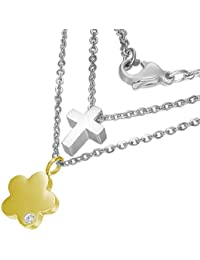 Stainless Steel Two-Tone Double Chain Cross Flower Pendant Necklace