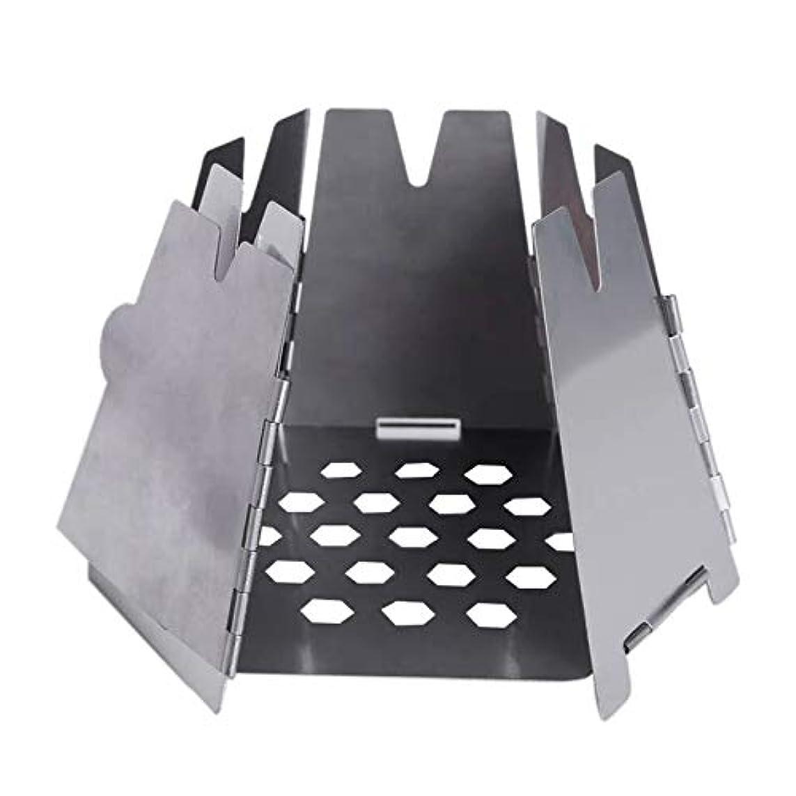 素晴らしさ粒病SODIAL 屋外キャンプストーブ ミニ折りたたみ六角形木材ストーブステンレス鋼 ポータブル炉調理生存バーベキューピクニックバーナー