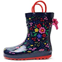 Apakowa Kids Unisex Boys Girls Rain Boots Waterproof Rubber Rain Boots with Easy-On Handles in Fun Patterns (Toddler/Little Kid)