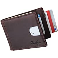 RUSTYGEAR Mens Wallet - Genuine Leather Wallet Slimline with RFID Protection & MoneyClip
