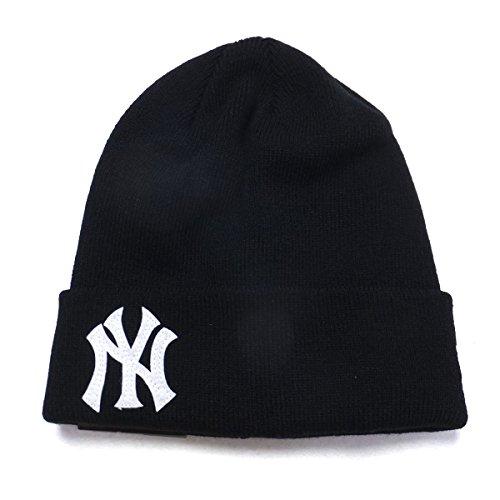 (ニューエラ) NEW ERA ニット帽 メンズ ベーシック カフニットキャップ NY ヤンキース ブラック/ホワイト 11474691