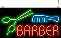 Barber W / Scissors and Comb Neon Sign