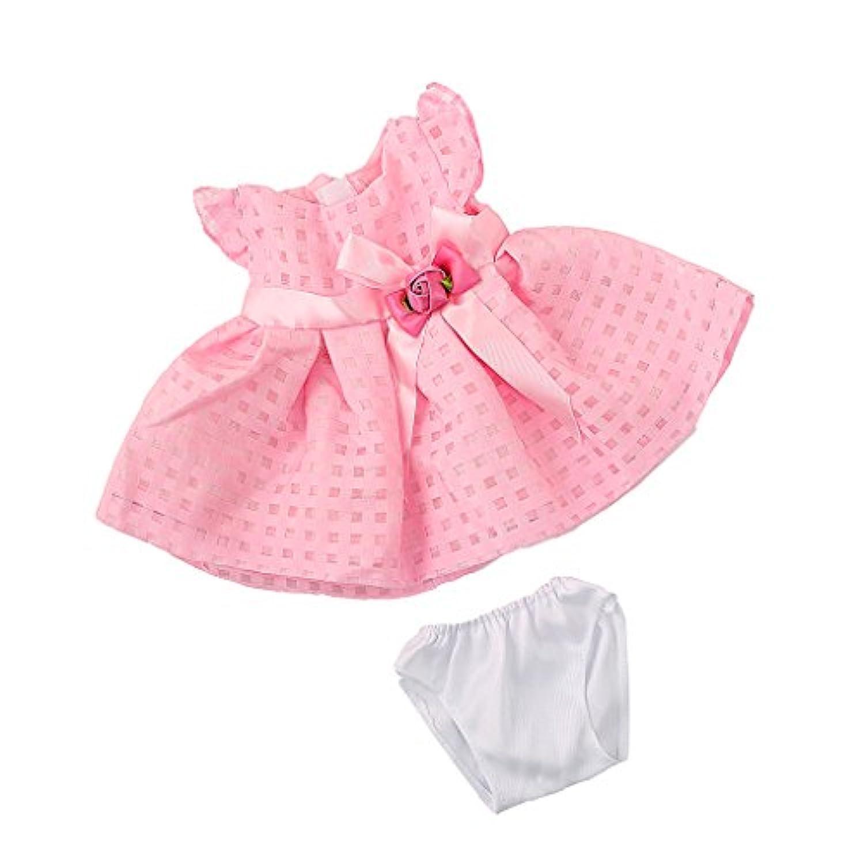 SONONIA 可愛い ノースリーブ フラワー ボウ スカート ドレス 下着 セット 服  18インチアメリカンガール人形適用 ピンク