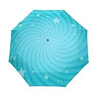 ALAZA 自動開閉式折りたたみ傘 螺旋柄 星柄 カスタムデザイン 水色 8本骨 傘ケース付き 晴雨兼用 3段折 梅雨対策 プレゼント
