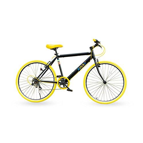 Airbike クロスバイク 自転車 26インチタイヤ (ブラック×イエロー)