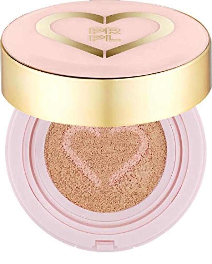 シンク弾力性のある可動式PRPL Heart Face Cushion - cover and glow cushion foundation, Korean make-up and skincare cosmetics (#21 Pure Ivory)