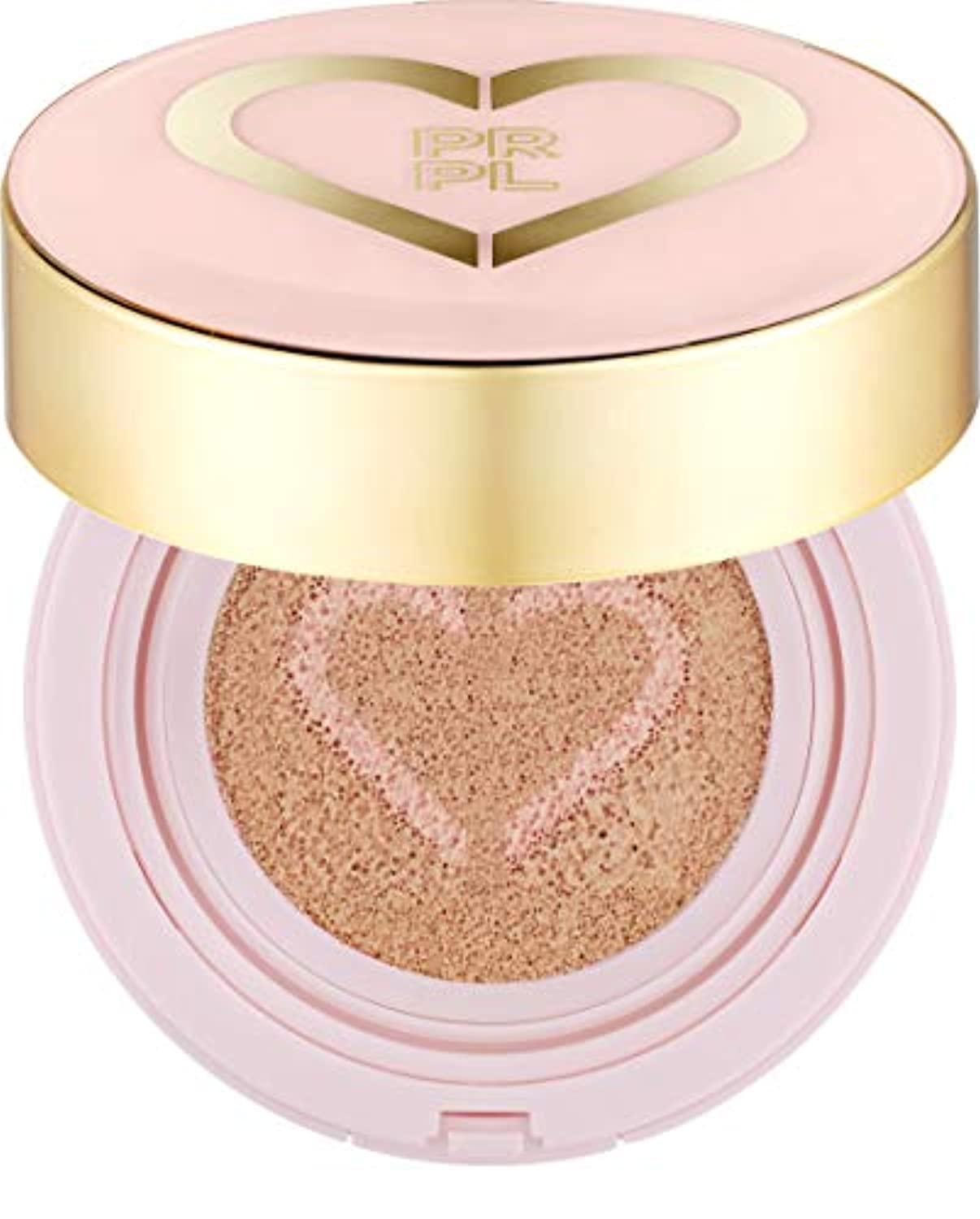 PRPL Heart Face Cushion - cover and glow cushion foundation, Korean make-up and skincare cosmetics (#21 Pure Ivory)
