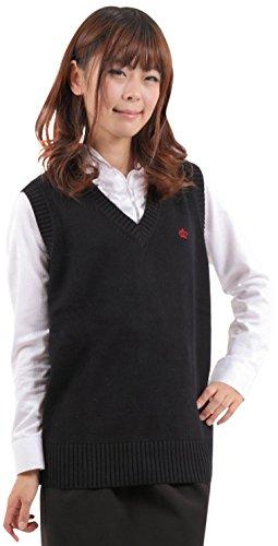 ベストスクールベストオフィスVネックワンポイント刺繍制服綿コットンニット綿ニット(M,ブラック)