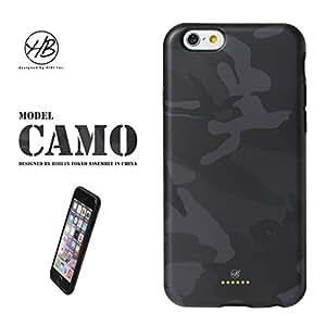 &y アンディ 【NEW モデル】 HB iPhone6 6s 対応 4.7インチ ソフトTPUケース マットタイプ BLACK CAMO カモフラージュ 迷彩 黒 フチ黒 (HB025)