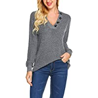 Yayado Women's V-Neck Sweater Long Sleeve Knit Pullover Jumper Tops