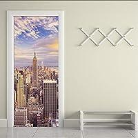 Xbwy 3D壁紙市建物写真壁壁画リビングルームオフィスドア壁画ステッカーPvc環境に優しいビニール壁紙ドアステッカー-200X140Cm