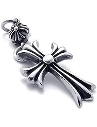 [テメゴ ジュエリー]TEMEGO Jewelry メンズステンレススチールヴィンテージペンダントゴシッククロスネックレス、ブルーブラックシルバー[インポート]
