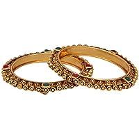 Efulgenz Indian Style Bollywood Traditional Antique Gold Plated Stone Wedding Bracelet Bangle Set Jewellery (2pc)