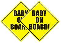 Delzam Baby ON Board(外装ステッカー2枚パック)赤ちゃん安全サイン 車 トラック ビニールステッカー デカール 5インチ x 5インチ 面白いグラフィック 車 窓 ノートパソコン 自己粘着 スマート 両親用