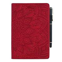 Tablet Samsung Galaxy Tab S5e ケース太陽の花柄 手帳型 10.5インチ SM-T720/T720N(Wi-Fi) SM-T725(LTE) 2019 タブレットスタンド カードペン収納 ビジネス 女性 男性 人気 耐衝撃 全面保護 スタンド多角度調整 おしゃれTPUレザー革カバー(赤)