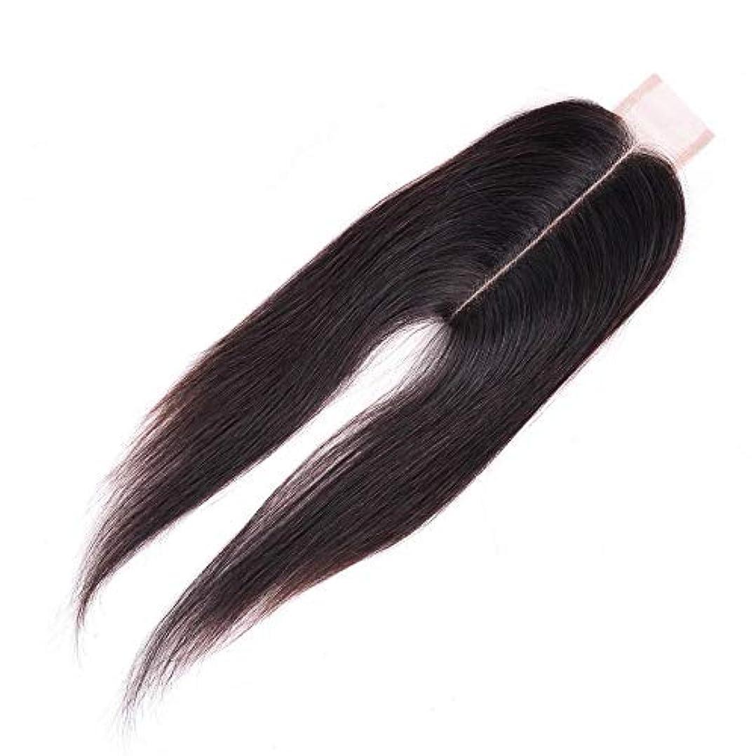 開始口バックアップWASAIO ブラジル人のバージンの人間の毛髪の中間の部分のまっすぐなレースの閉鎖 (色 : 黒, サイズ : 14 inch)