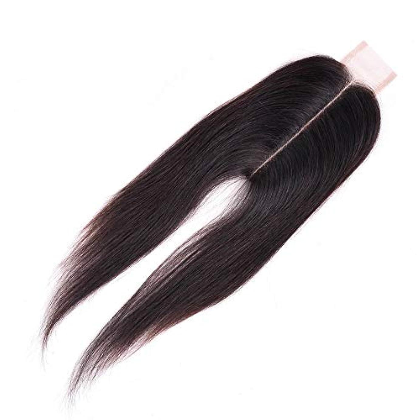 爵面積倫理WASAIO ブラジル人のバージンの人間の毛髪の中間の部分のまっすぐなレースの閉鎖 (色 : 黒, サイズ : 14 inch)
