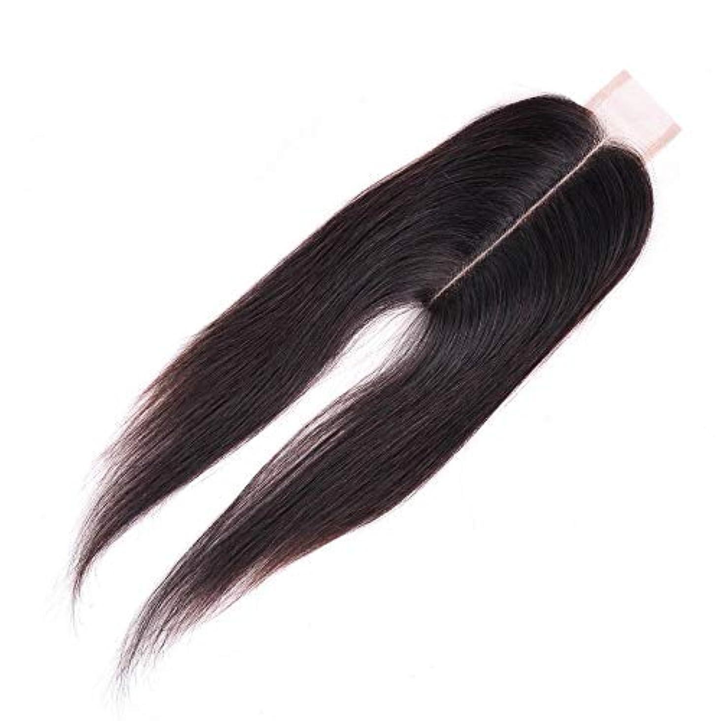 生き返らせる第九アンデス山脈WASAIO ブラジル人のバージンの人間の毛髪の中間の部分のまっすぐなレースの閉鎖 (色 : 黒, サイズ : 14 inch)