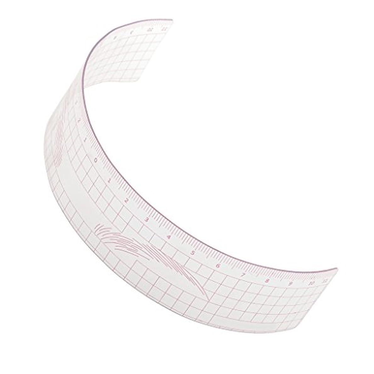分類クルー公平なPerfk 再利用可能 メイク 眉毛ステンシル マイクロブレード 測定用 ルーラー ツール 全3色 - ピンク