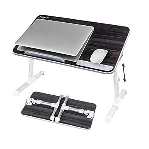 NEARPOW 【改良版】 折りたたみ式 ノートパソコンスタンド ベッドテーブル 4つ組み立て方 両・右・左利き対応 ローテーブル 机上台 高さ 角度調節可能 多機能 ベッド ソファ オフィス 食事 利用可 (A6 ブラック)