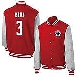 ワシントン・ウィザーズブラッドリー・ビール#3男子バスケットボールジャージスポーツトレーニングスーツのセーターのコートトップカーディガン厚く暖かい赤(155-190CM),S/155~165CM