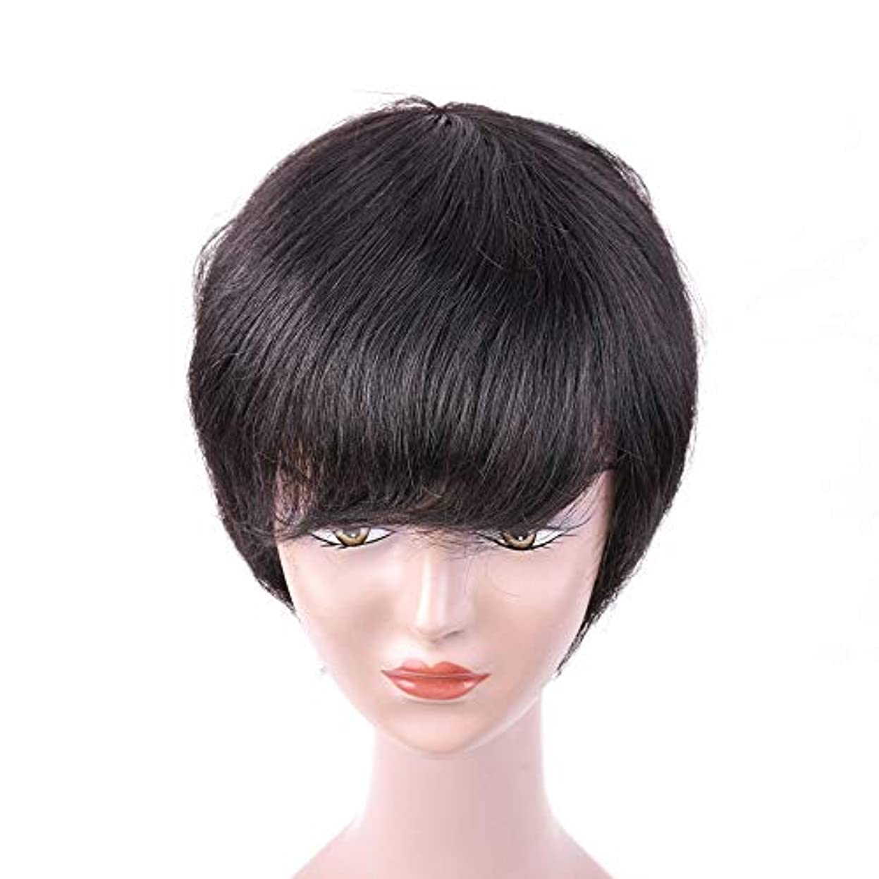 マーキング海洋気質Mayalina 100%人間の髪の毛の短いわずかなカーリーかつら黒人女性のための黒の短い髪のかつらロールプレイングかつら女性の自然なかつら (色 : 黒, サイズ : 6inch)